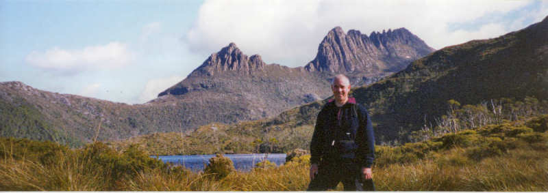 Tony with Cradle Mt and Dove Lake
